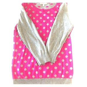 EUC Banana Republic Pink Gray polka dot sweater